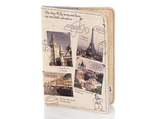 Кожаная обложка на паспорт Города Европы купить в интернет магазине подарков ПраздникШоп
