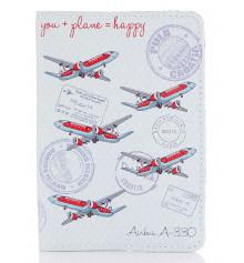 Кожаная обложка на паспорт You + Plane Happy купить в интернет магазине подарков ПраздникШоп