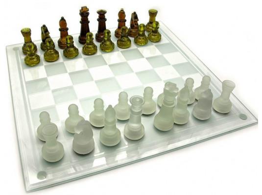 Шахматы стеклянные янтарные купить в интернет магазине подарков ПраздникШоп