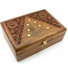 Шкатулка дерево резная №6 купить в интернет магазине подарков ПраздникШоп