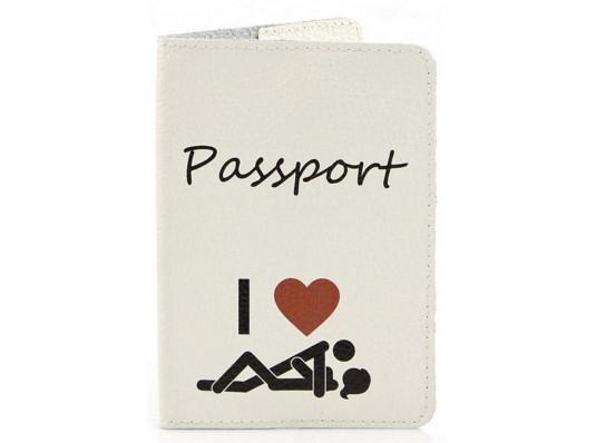 Кожаная обложка на паспорт Я Люблю купить в интернет магазине подарков ПраздникШоп