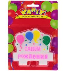 """Свеча с шарами """"С Днем рождения"""" розовая купить в интернет магазине подарков ПраздникШоп"""