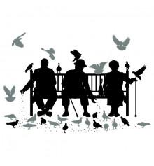 Виниловая наклейка Trio on the Bench купить в интернет магазине подарков ПраздникШоп