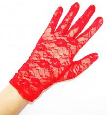 Перчатки гипюровые короткие красные купить в интернет магазине подарков ПраздникШоп