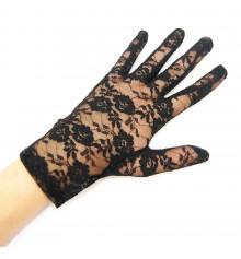 Перчатки гипюровые короткие чёрные купить в интернет магазине подарков ПраздникШоп