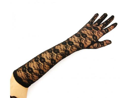 Перчатки гипюровые длинные чёрные купить в интернет магазине подарков ПраздникШоп