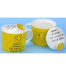 """Кружка """"don't forget to smile"""" с крышкой, 4 вида купить в интернет магазине подарков ПраздникШоп"""