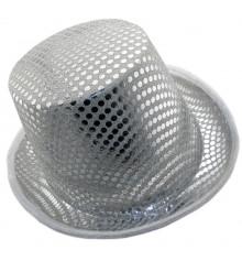 Шляпа Цилиндр с пайетками (белая) купить в интернет магазине подарков ПраздникШоп