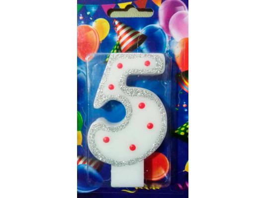 Свеча-цифра 5 купить в интернет магазине подарков ПраздникШоп