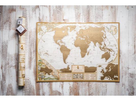 Скретч карта мира My Antique Map с увеличенными картами Европы и Украины на английском языке купить в интернет магазине подарков ПраздникШоп