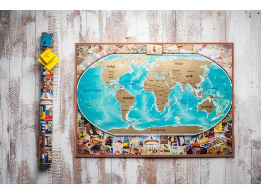 Самая большая скретч карта мира My Vintage Map RU/UA купить в интернет магазине подарков ПраздникШоп