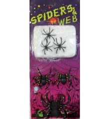 Паутина + 6 пауков купить в интернет магазине подарков ПраздникШоп