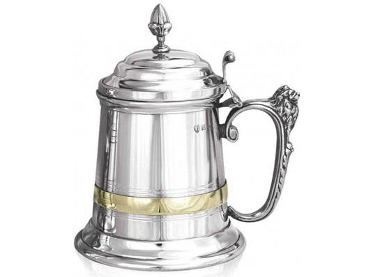 Королевский Пивной бокал (танкард) декорированный медью купить в интернет магазине подарков ПраздникШоп