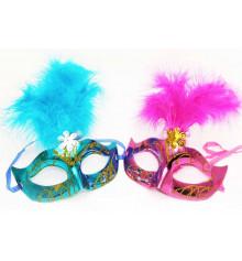 Карнавальная маска Венеция с пером ( 5 перьев ) купить в интернет магазине подарков ПраздникШоп