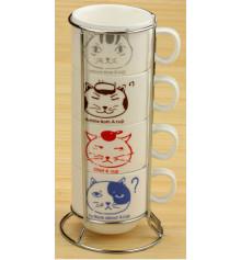 """Чашки """"Котики"""", набор средний 4 шт. купить в интернет магазине подарков ПраздникШоп"""