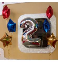 Фольгированная цифра 2 + Зірки. купить в интернет магазине подарков ПраздникШоп