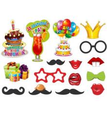 """Фотобутафория """"День рождения"""" 16 предметов купить в интернет магазине подарков ПраздникШоп"""