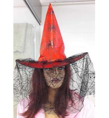 Шляпа ведьмы с вуалью (красная) купить в интернет магазине подарков ПраздникШоп