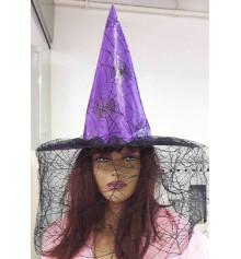 Шляпа ведьмы с вуалью (фиолетовая) купить в интернет магазине подарков ПраздникШоп