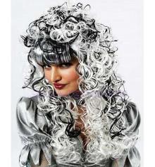Парик бело-черный с длинными кучерявыми волосами купить в интернет магазине подарков ПраздникШоп