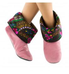 Тапочки. светло-розовые с черным манжетом из платка купить в интернет магазине подарков ПраздникШоп