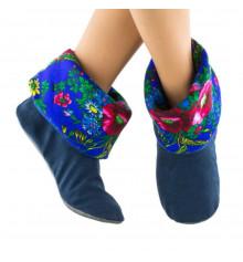 Тапочки, синие с синим манжетом из платка купить в интернет магазине подарков ПраздникШоп