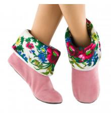 Тапочки, светло-розовые с белым манжетом из платка купить в интернет магазине подарков ПраздникШоп