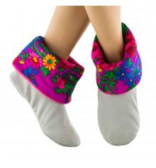 Тапочки, светло-серые с розовым манжетом из платка купить в интернет магазине подарков ПраздникШоп
