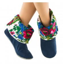 Тапочки, синие с белым манжетом из платка купить в интернет магазине подарков ПраздникШоп