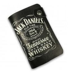 """Кожаная кредитница на кнопке """"Jack Daniel's"""", 20 карт купить в интернет магазине подарков ПраздникШоп"""