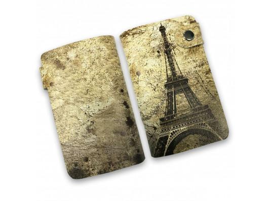 """Кожаная кредитница на кнопке """"Париж"""", 20 карт купить в интернет магазине подарков ПраздникШоп"""