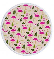 """Пляжный коврик """"Фламинго и листья"""" купить в интернет магазине подарков ПраздникШоп"""