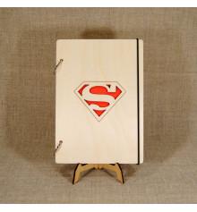 """Блокнот с деревянной обложкой """"Superman"""", А5 купить в интернет магазине подарков ПраздникШоп"""