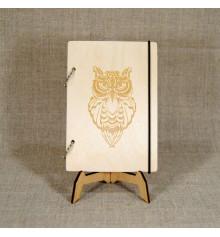 """Блокнот с деревянной обложкой """"Сова"""" купить в интернет магазине подарков ПраздникШоп"""