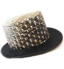 """Шляпа """"Цилиндр с черепами"""" (кожа+фетр) купить в интернет магазине подарков ПраздникШоп"""