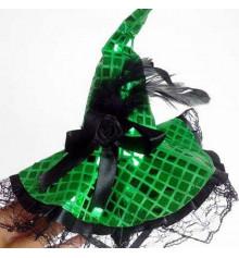 Шляпка Ведьмы на обруче (зелёная) купить в интернет магазине подарков ПраздникШоп