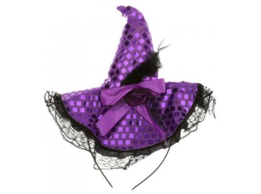 Шляпка Ведьмы на обруче (фиолетовая) купить в интернет магазине подарков ПраздникШоп