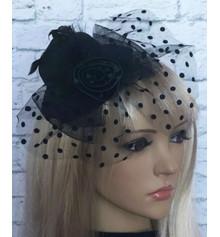Шляпка Гламур с розой (черная) купить в интернет магазине подарков ПраздникШоп