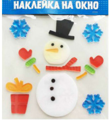 """Наклейка гелевая на окно """"Снеговик """" купить в интернет магазине подарков ПраздникШоп"""
