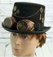 """Шляпа """"Стимпанк"""", цилиндр с гогглами купить в интернет магазине подарков ПраздникШоп"""