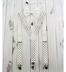 Подтяжки с бабочкой (горошек), белые купить в интернет магазине подарков ПраздникШоп