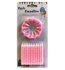Свечи для торта (24 свечей+12 подставок), розовые купить в интернет магазине подарков ПраздникШоп