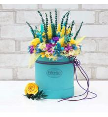 """Букет из стабилизированных цветов """"Аквамарин"""", 20х25 см. купить в интернет магазине подарков ПраздникШоп"""