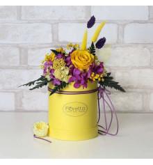 """Букет из стабилизированных цветов """"Солнечная улыбка"""", 30х35 см. купить в интернет магазине подарков ПраздникШоп"""
