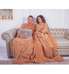 Плед з рукавами для двох з мікрофібри, бежевий купить в интернет магазине подарков ПраздникШоп