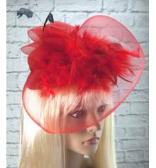Шляпка с бутоньеркой и вуалью (красная) купить в интернет магазине подарков ПраздникШоп