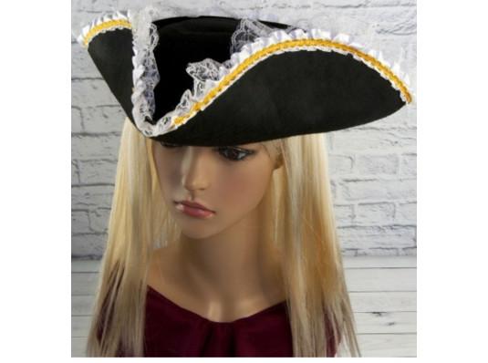 """Шляпа """"Треуголка пиратки"""" с кружевом купить в интернет магазине подарков ПраздникШоп"""