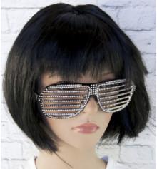 Очки Жалюзи со стразами (черные) купить в интернет магазине подарков ПраздникШоп
