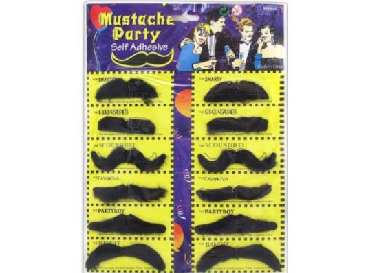 Усы накладные (12 шт) купить в интернет магазине подарков ПраздникШоп