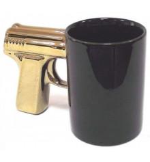 """Чашка """"Пистолет"""" с позолоченной ручкой купить в интернет магазине подарков ПраздникШоп"""